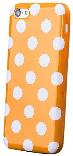 iCues Apple iPhone 5C |  Polka Dots TPU Case Schwarz | [Display Schutzfolie Inklusive] Damen Frauen Mädchen Silikon Gel Motiv Muster Schutzhülle Hülle Cover Schutz Orange