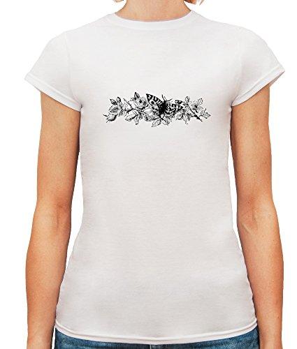 Mesdames T-Shirt avec Beautiful Vintage Butterfly on the Roses Illustration imprimé. Blanc