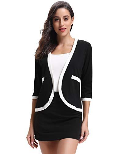 kjacke 3/4 Arm Elegante Taillierte Jacke mit Kontrastnähte Offene Herbst Blazerjacke für Büro und Alltag ()