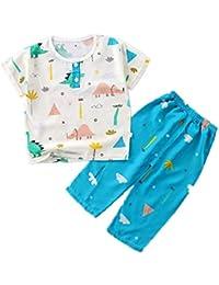 Hongxin Manga Corta Pyjama Sets Conjuntos de Pijama para Niñas Niño Pijama con Estampado de algodón de Ajuste cómodo de 2 Piezas 90cm-130cm