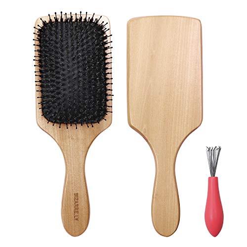 Wildschweinborsten Haarbürste - 24,5cm Paddel Bürste mit Haarentfernungs Werkzeug - Der beste Entwirrer mit Holzgriff, kann zum Föhnen und Glätten verwendet werden