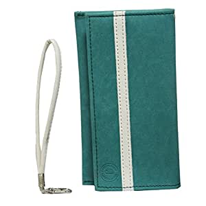 Jo Jo A5 Nilofer Leather Wallet Universal Pouch Cover Case For Gionee Pioneer P4 Light Blue White