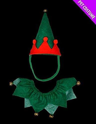 Imagen de juego de disfraz de elfo, para perros y gatos, disfraz de navidad, color verde y rojo