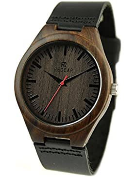 Redear Schwarz natürlichem Schwarzes Sandelholz Mit Zebrano Holz 100% Handgefertigt Holz Armbanduhr Uhren für...