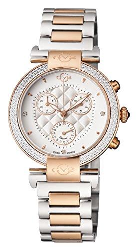 GV2by Gevril berletta Chrono–Cronógrafo con diamantes correa de piel con adicional de dos tonos pulsera de acero inoxidable reloj de cuarzo suizo, (modelo: 1553)