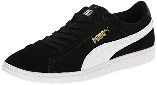 Puma Womens Vikky Leather Trainers Black-White