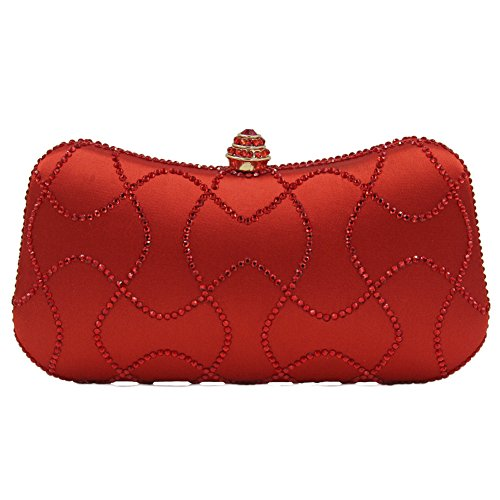 Onfahion Damen Rot Strass Abend Handtasche Tasche Party Frauen Mädchen Handtasche Clutch Bags Wallet (Bag Wallet Clutch)