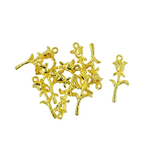 ELECTROPRIME® 10pcs Gold Plated Rose Flower Charms Pendants for Jewelry Making 36 x 15mm
