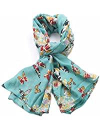 Beautiful Butterfly Printing Scarf London Fashion Butterfly Printed Long Shawl Scarves (Teal Blue)