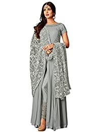 f1decc6c92 Fabzara Womens Grey Color Designer Embroidered Work Gown (FZ_6405-Grey) Anarkali  Suit