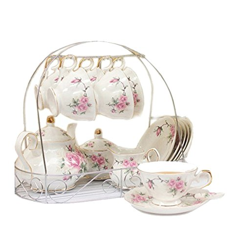 15 Piece European Bone China Service Coffee Set Wiht Metal Holder,Pink Camellia Printing Vintage Floral Tea Set,For Household