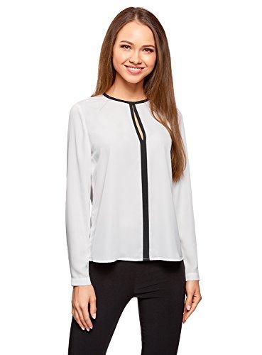 oodji Ultra Mujer Blusa de Tejido Fluido con Acabado en Contraste, Blanco, ES 44 / XL