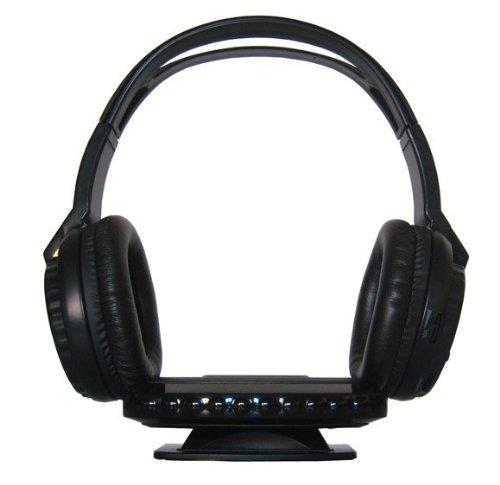 YMPA Kopfhörer IR Infrarot kabellos TV Stereoanlage für daheim zu hause Stereo Bügelkopfhörer Sender Empfänger Transmitter Aux Cinch RCA 220V schwarz IR KH-3 thumbnail