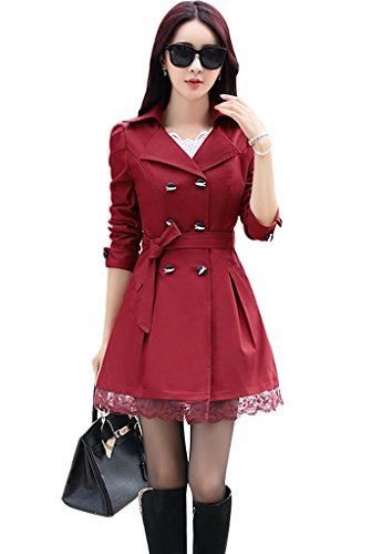 Wincolor Damen Zweireihig Bowknot Langer Trench Mantel mit Gürtel and Lace Saum Rot