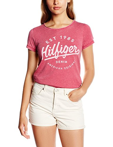 Hilfiger Denim Damen Thdw SN T-Shirt S/S 9, Rot (Sangria 568), 36 (Herstellergröße: S)