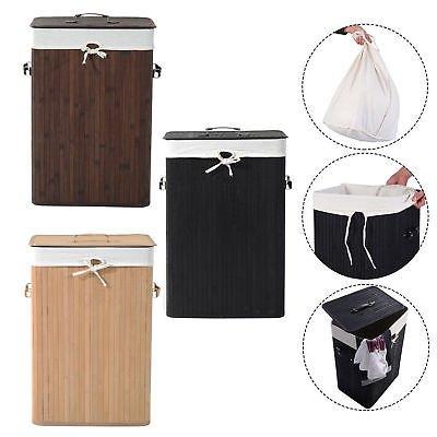 Ballino 105Liter cesto para la colada Bambú Plegable Caja para Ropa Sucia Con Tapa extraíble y lavable forro 2colores luz y oscuro marrón 62,5x 52x 32cm