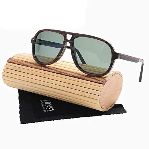 Sonnenbrillen Mann, UV400 polarisierende Holz Sonnenbrille UV-Schutz, als Geschenke für Freunde und Verwandte Festivals und Reisen, Ausflüge im Freien, Einkaufen, Bergsteigen ( Farbe : Cherry+Tawny )