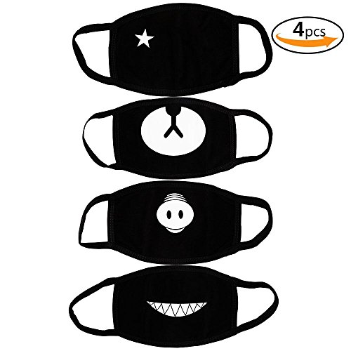 Teenitor 4 Stück Baumwoll Gesicht Mund Maske Anti Staub Wind schneiden EXO Bär Schwein Zähne Star Pattern Mode Earloop Gesichtsmaske Schwarz für Kinder Teens Männer (Schwarz Rauch Maske)