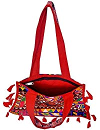Gaurapakhi Rajasthani Collection And Ethnic Cotton Handmade Handbag With Multicolor For Women's - B07D7HGDL4