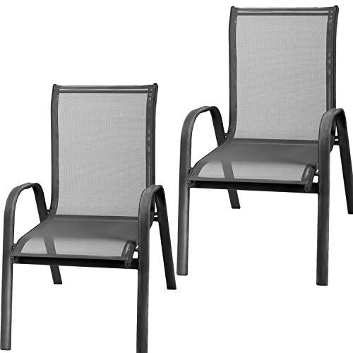 Mojawo 2 Stück XL Stapelsessel Gartenstuhl Gartensessel stapelbar Textilenbespannung Balkonmöbel Gartenmöbel Aluminium-Metall Mix schwarz Textilen Farbe Anthrazit