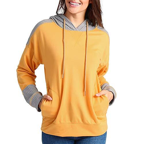 Subfamily Kapuzenpullover Damen Einfacher Stil Frauen Herbst beiläufige Lange Hülsen Patchwork Pullover Hoodie Oberseiten Sweatshirt Taschen Frauen verkleidetes mit Kapuze Sweatshirt