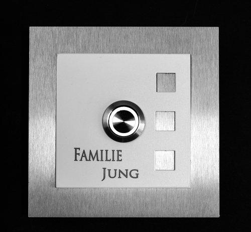 Klingelplatte Manhattan E2-004 G Edelstahlklingel Dekoplatte weiß Klingel mit LED Taster Klingelschild Türklingel (LED weiß)