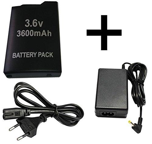 Stromkabel Ladegerät für Sony PSP 2000 3000 + Akku für PSP 2000 3000 Konsole AC Adapter Ladekabel Netzteil Strom Adapter für Playstation Portable 2004 3004 2.Generation Slim & Lite