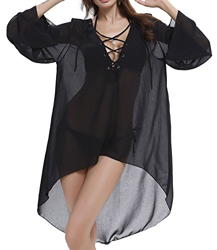 Mujer Pareos Playa Bikini Túnica Bañador Playa Beach Bikini Swimwear Cover Up Negro
