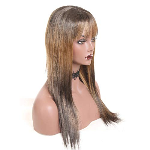Women's Long Straight Ombre ST4/27 Replacement Hair Wigs 22 Inches 100% Japanese Kanekalon&Toyokalon Fiber Human Hair Looking and Feeling Never Shedding Wigs