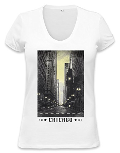 Chicago Vintage Womens V-neck T-shirt XX-Large (Retro Womens T-shirt Chicago)