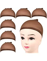 FANDAMEI 6 Pièces Cap de Perruque Bonnet Perruque Femme Nylon Wig Cap Élastique Chapeau de Perruque pour Femmes et Hommes Marron