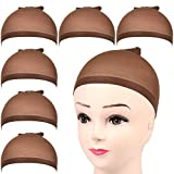 FANDAMEI 6 Pcs Dark Brown Stretchy Nylon Wig Cap - Elastic Nylon Close End Stocking Wigs Cup, Brown Unisex Wig Stocking Cap Hair Cup for Women Makeup