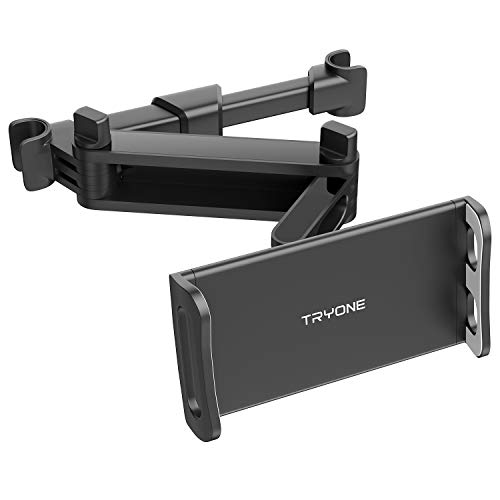 Tryone Supporto Tablet Poggiatesta Auto, estensibile supporto per tablet per sedile d\'auto per iPad/Samsung Galaxy Tab/Amazon Kindle Fire HD/Nintendo Switch/Altri ecc di 4,7-10,5 pollici (Nero)
