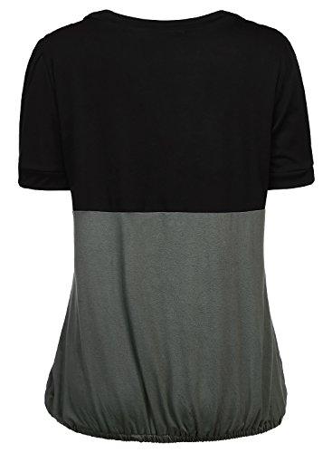 DJT Damen Rundkragen Tunika Sommer Faux Twinset T-Shirt Anthrazit