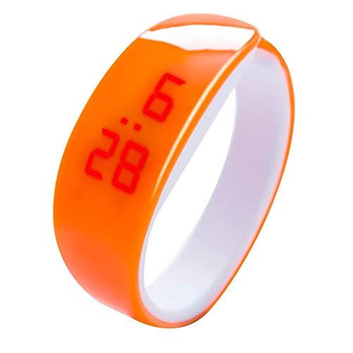 Tonsee LED Digitalanzeige Armbanduhr Fitness Armband Silikon Stoppuhren Sportuhren Schrittzähler Kalorienzähler Sport Smart Uhr Mode Sport Uhr Delphin Uhr für Damen Herren und Kinder (Orange)
