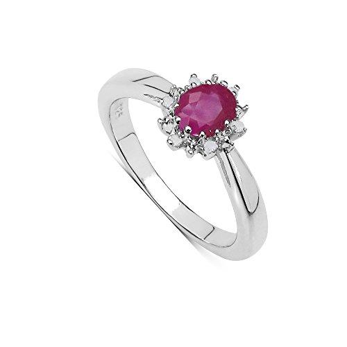Die Sammlungs ringe Rubine: Ring des Engagements, ovaler Rubin, Traubendiamanten, Gesetzes silber, Ringgröße 52 (Engagement Rubin-diamant-ring)