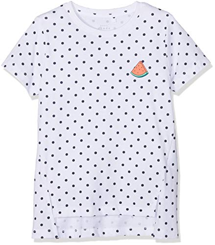 NAME IT Mädchen NKFVIA SS TOP J T-Shirt, Mehrfarbig (Bright White AOP: Dots), 146 (Herstellergröße: 146-152) -