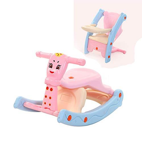 CX TECH 3 in 1 Baby Schaukelstuhl tragbaren Esstisch Kinderstuhl Musik Licht Geschenk Kinder 1-3 Jahre alt Schaukelspielzeug,Pink