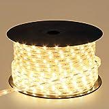 شريط مصابيح ليد 5730 SMD، 120 مصباح لكل متر، بجهد 220 فولت، شريط إضاءة ليد مرن بطول 50 مترًا، لون أبيض دافئ