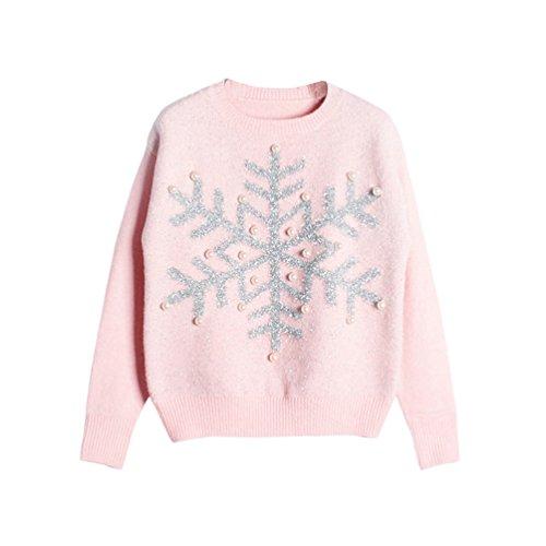 CeRui Donna Lustrino perla Neve di Natale Motivo maglieria Manica Lunga Di Natale Maglione Rosa