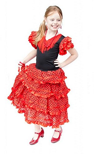 La Senorita Spanische Flamenco Kleid/Kostüm - für Mädchen/Kinder - Rot/Schwarz (Größe 104-110 - Länge 75 cm- 5-6 Jahr, ()