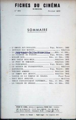 La Vallee De Gwangi - FICHES DU CINEMA [No 411] du 01/02/1970