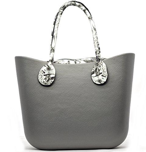 Borsa bag spalla donna fantasia silicone manici sacca scocca completa (grigio)
