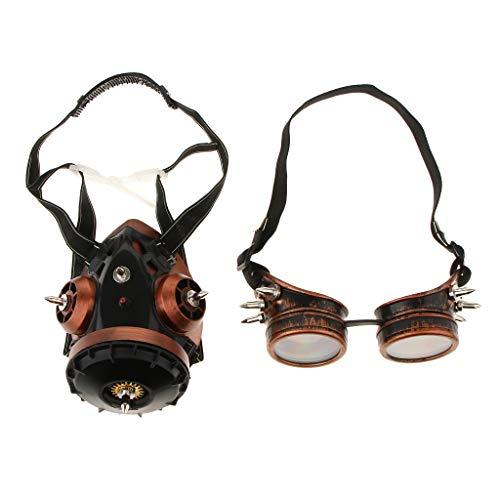 Baoblaze Kupfer Steampunk Brille mit Maske Maskerade Halloween Cosplay Kostüm Zubehör