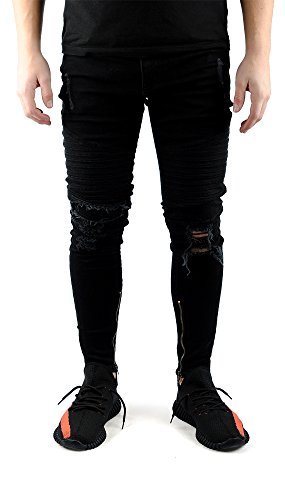 FiveSix Herren Used-Look Slim-Fit Denim Destroyed-Look Bikerjeans Löcher Skinny Jeans Zerrissen Hose mit Stretch Schwarz EU 32/32 (Baumwolle Distressed Jeans)