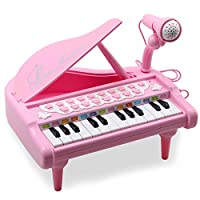 Amy&Benton Piano Toy for 1 2 3 4 Years Old Girls, 24 Keys Pink Electronic Educational Musical Instrument with Microphone, Learn-to-Play Gift for Baby Toddlers Girls