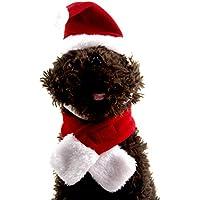 Ogquaton 1 Unidades Sombrero de Papá Noel Ajustable Collares Corbata para Mascota Pequeño Gatito Perrito de Navidad Cosplay Set Festival Ropa de Vestir
