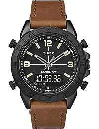 6067918cb98f Timex Reloj Analógico-Digital para Hombre de Cuarzo con Correa en Cuero  TW4B17400