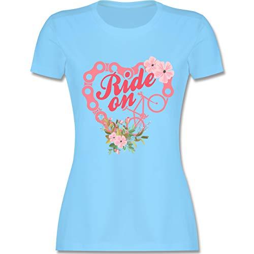 Radsport - Ride on Bike Herz - L - Hellblau - L191 - Damen Tshirt und Frauen T-Shirt