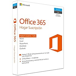 1 de Microsoft Office 365 - Paquete Hogar, Para 5 PCs/Macs + 5 tabletas, 1 año